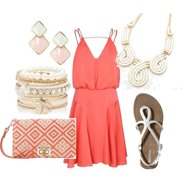 coral summer outfit beach wedding guest