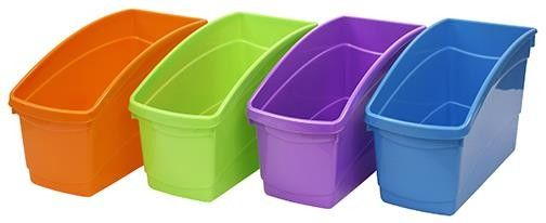 Cheap, Quality Book Bins! http://www.stepstoliteracy.com/plastic-book-boxes-fun-colors-16396.html