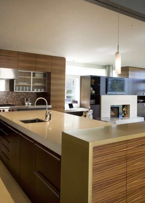 earth tone kitchen with concrete and wood