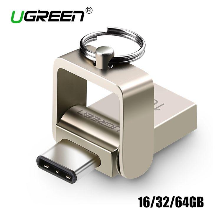 Ugreen USB Flash Drive 32 GB Logam OTG USB 3.0 Pen Drive Key 64 GB Jenis C Kecepatan Tinggi Mini flashdisk Flash Drive Memory Stick 16 GB