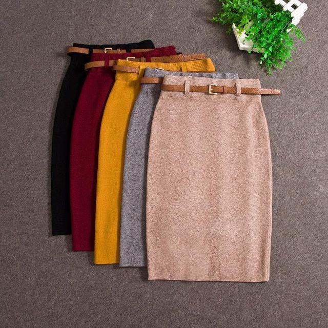 Wysokiej Jakości Spódnice Jesień zima Casual Kobiety Wysoka Talia kolan Ołówek Spódnica Z Dzianiny Eleganckie smukłe Długie Spódnice