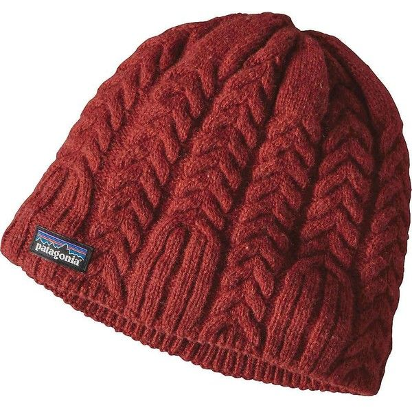 Patagonia Women's Cable Beanie ($39) ❤ liked on Polyvore featuring accessories, hats, cinder red, red beanie, fleece lined hat, red hat, patagonia hats and cable beanie
