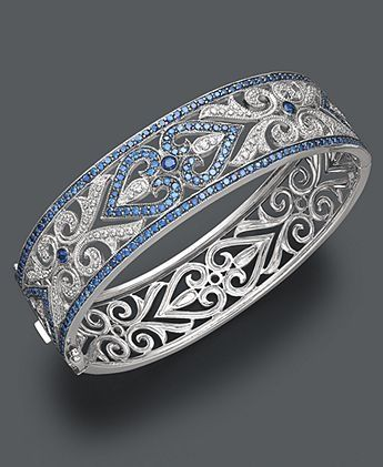 Sterling silver, diamond and sapphire heart bangle