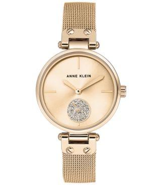 Anne Klein Women's Gold-Tone Stainless Steel Mesh Bracelet Watch 34mm - Gold
