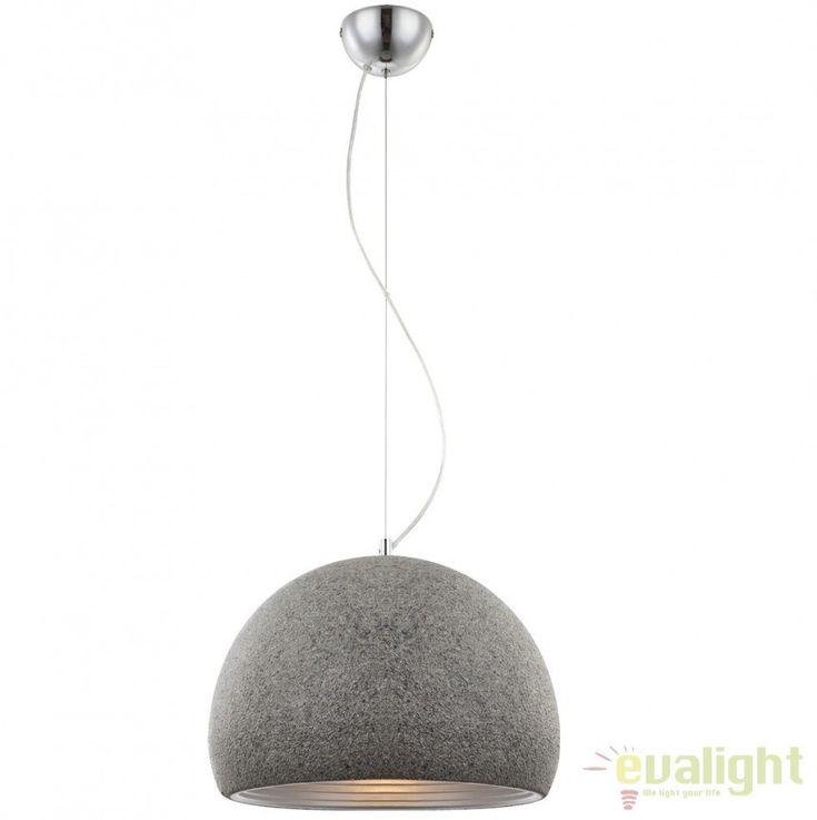 Lustra,Pendul Industrial Style, diam.40cm, finisaj aluminiu, EARTH I 15688 Globo Lighting - Corpuri de iluminat, lustre, aplice