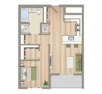 One-bedroom floor plan.  Aria on L in Northeast Washington DC | WC Smith #Apartments | NoMa #Rentals ariaonl.com