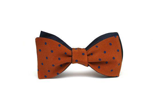 Mens bowtie Navy and brown polka dots 100%Natural Pure silk
