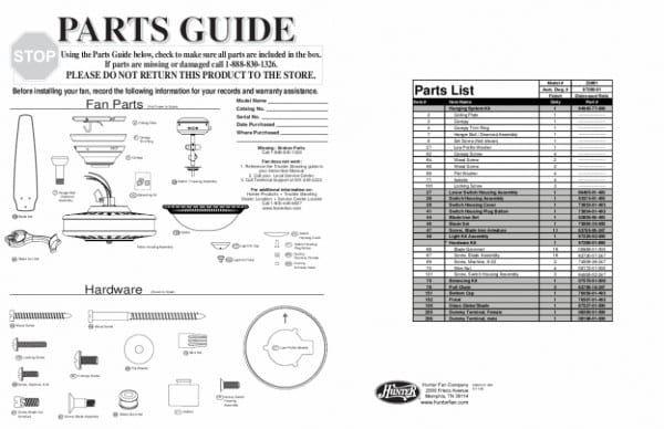 Hunter Ceiling Fan Light Parts Diagram