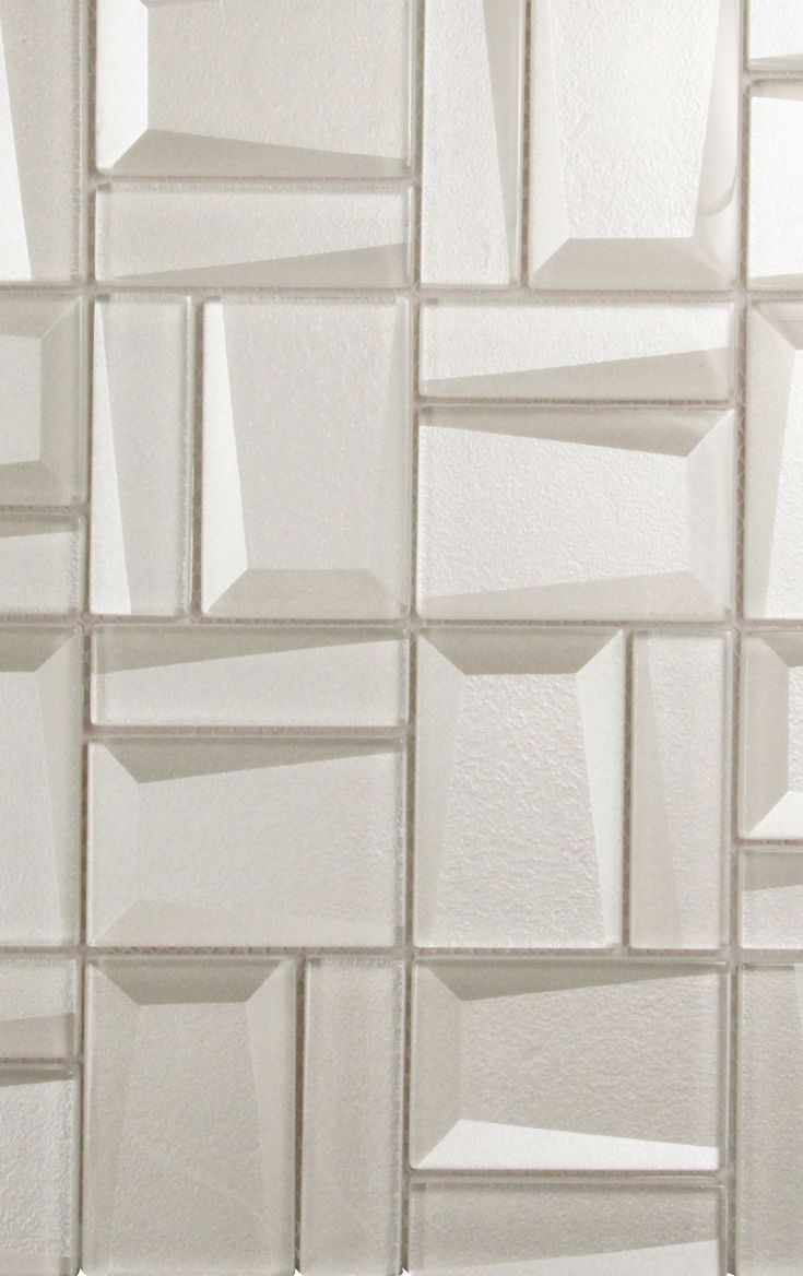 can we say amazing about this closeup of prism white mosaic glass tile geometric shapes