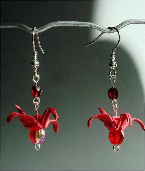 Earrings - Origami Cranes from Colorful Mobiles