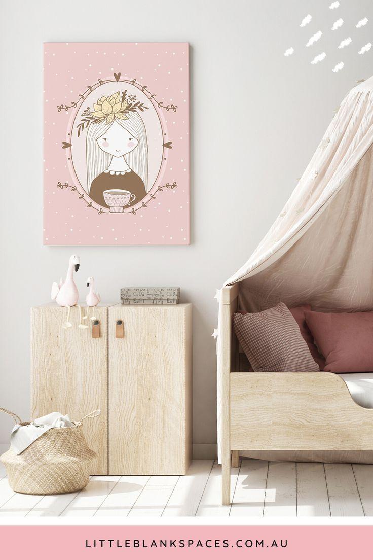 Pink Girl Portrait Printable Wall Art Rustic Nursery Decor