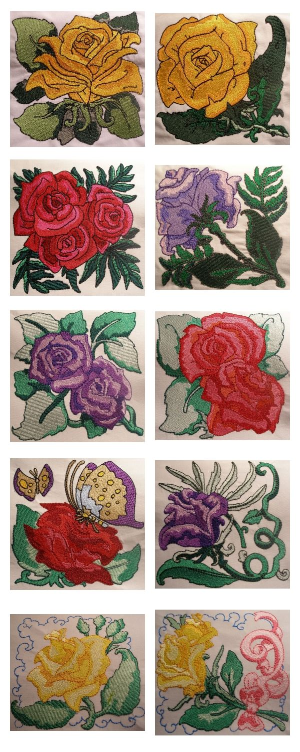 Glorious Roses Embroidery Machine Design Details