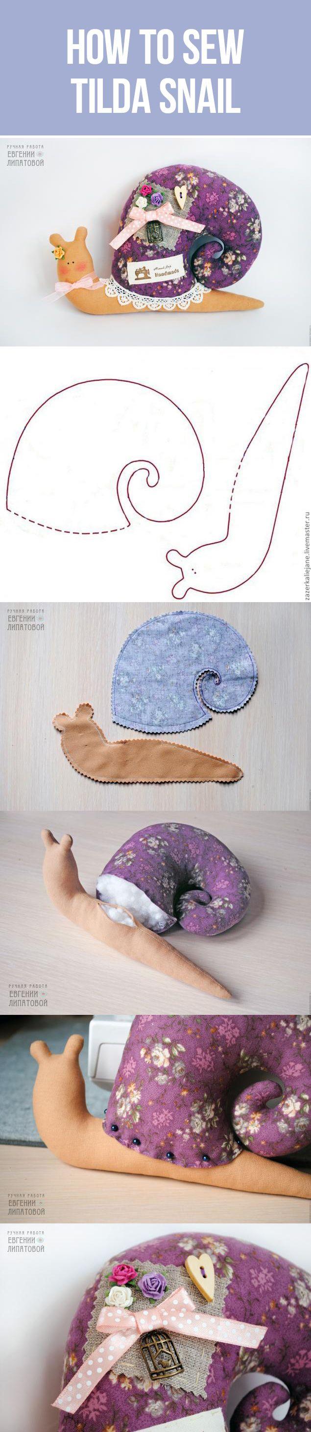 How to sew Tilda Snail toy, pattern + tutotial | Шьем улитку в стиле Тильда, мастер-класс с выкройкой