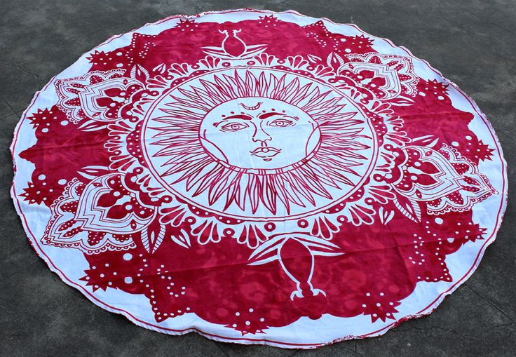 Celestial Sun Round Tapestry Bohemian Beach Throw