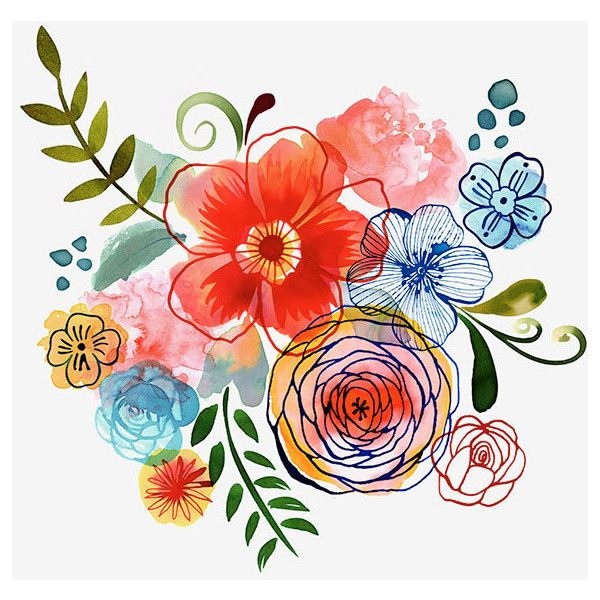 Magrikie : Illustration : florals / plants / spring found on Polyvore featuring polyvore, home, home decor, floral home decor and spring home decor