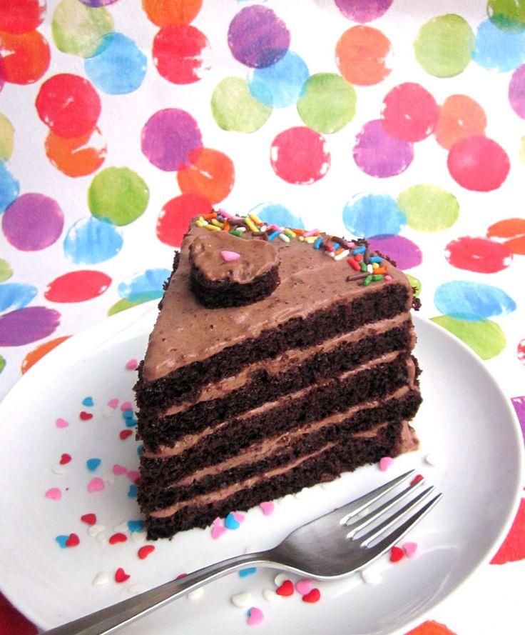 A perfect single slice of chocolate layer cake |  The pancake princess   // [One-bowl chocolate cake (made egg-less) & Yogurt frosting]