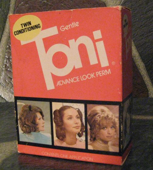 Toni perm..I remember covering my face with a towel while mom squirted on the solution...some wold always run into the ear..it was cold...and smelled really really bad...