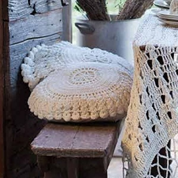 Coussin rond crochet blanc mariclo coussins et galette for Cantonniere shabby chic
