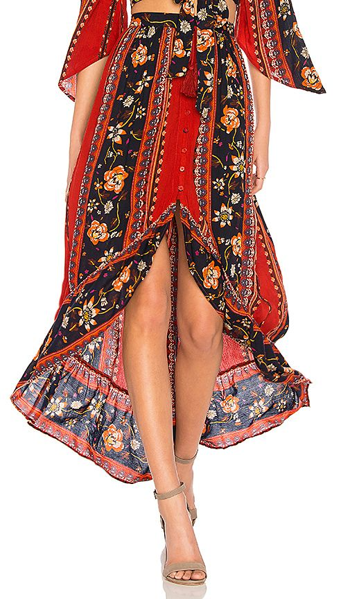 Shop for Band of Gypsies Bohemian Ruffle Skirt in Rust & Navy at REVOLVE. Free 2-3 day shipping and returns, 30 day price match guarantee.