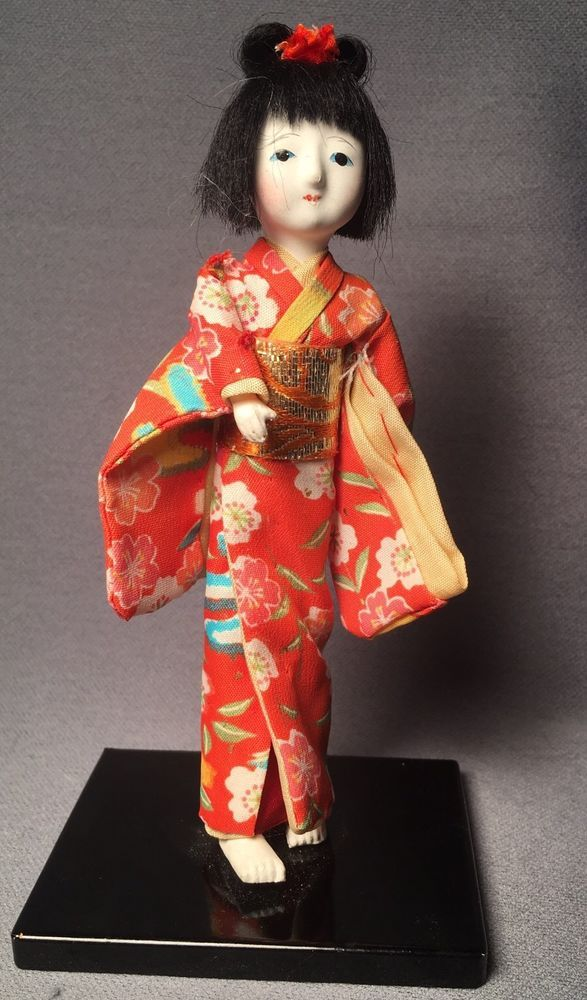 Vintage Japanese Doll Woman Kimono  6.5 Inches