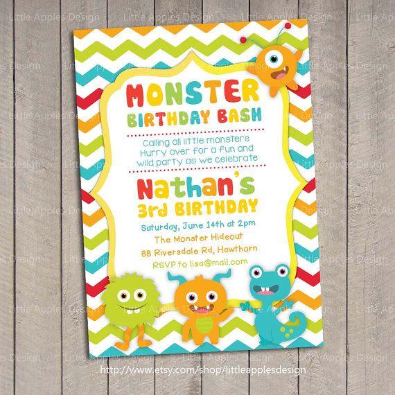 Monster Invitation / Monster Invite / Little by LittleApplesDesign, $12.00