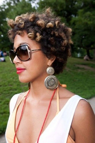 Very short coily afro with highlights