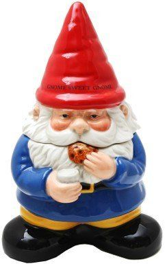 """Gnome Sweet Gnome Cookie Jar: Handpainted Kitchen Ceramic Collectible by Pacific Giftware. $30.95. Cap states """"Gnome Sweet Gnome."""". 10"""" tall.. Handpainted glazed.. Who needs elves when you can have your very own gnome? Irresistible handpainted glazed ceramic cookie jar holds your sweet treats and brightens up your """"Gnome Sweet Gnome."""" 10"""" tall."""
