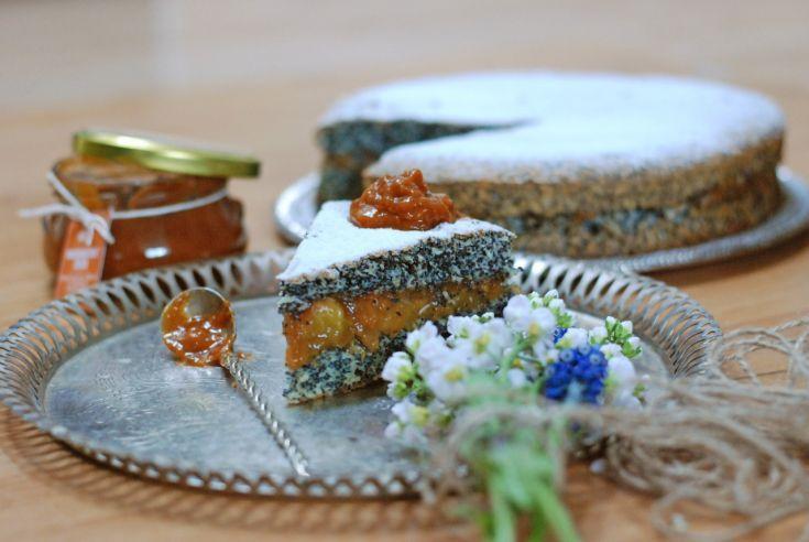 Fotorecept: Makovo-kokosový koláč bez múky s broskyňami
