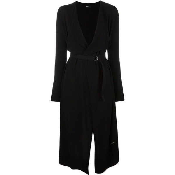 Diesel long cardi-coat ($185) ❤ liked on Polyvore featuring outerwear, coats, black, long coat and diesel coats