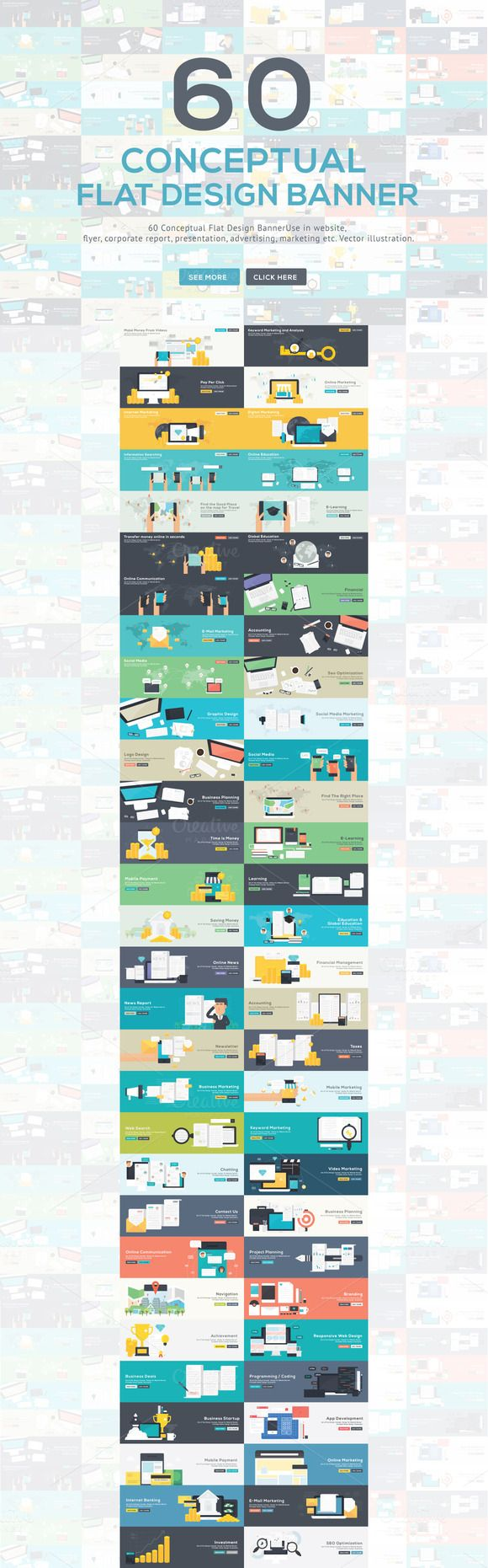 60 Conceptual Flat Design Banner by LINEPIX on Creative Market