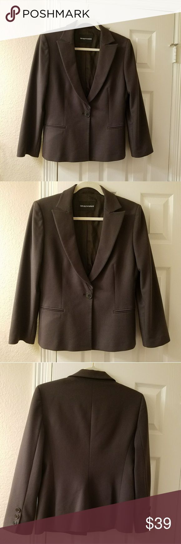 "Emporio Armani women's suit , jacket,  blazer, IT In great condition,  Emporio Armani women's suit , jacket,  blazer, IT 46, made in Italy Length.        24,5"" Shoulders.  16,5"" Armpit to armpit 19"" Waist.    16,5"" Sleeve.   22,5"" ANTINEA SRL RN 103723 84%wool 15%poliamidica, 1%elastan Emporio Armani Jackets & Coats"