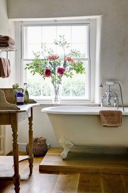 Clawfoot tub in a bathroom at The Post House, Chewton Mendip, in the Cotswolds - from our feature on the Best British B&Bs