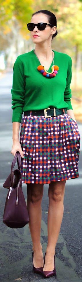 Fall preppy: green sweater, plaid Bermuda pants, burgundy shoes & bag…