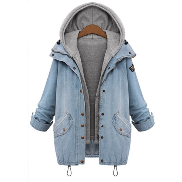 Blue Plus Size Loose Single-breasted Two Pieces Stitching Hooded Denim… (72 CA…