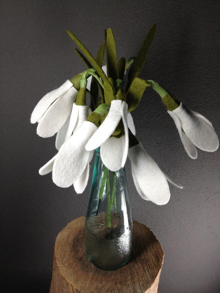 Felt flowers: felt snowdrop vilten bloemen: sneeuwklokjes  Www.be-flowerd.nl