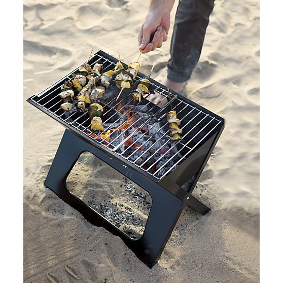 Folding Portable Charcoal Grill In Barbecue Crate And Barrel Bbq Recipes Pinterest Grilling