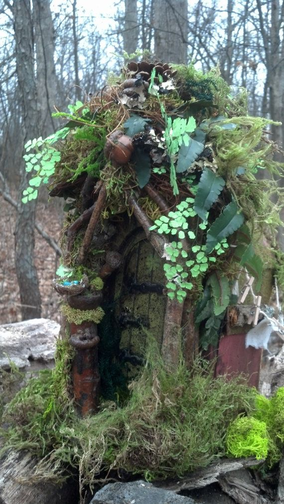 natural finish-Fairy house with 2 rooms mossy comfort