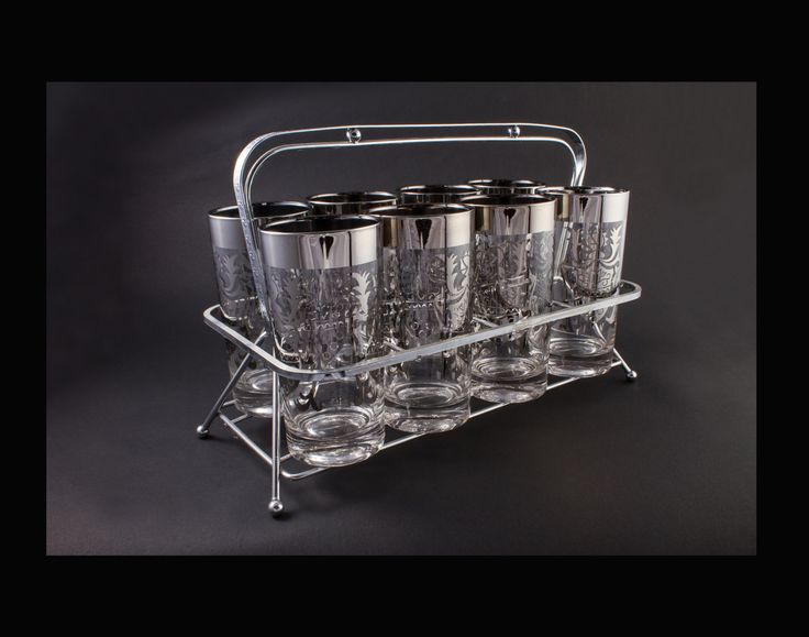 Kimiko Highball Drink Glasses Set Silver Band Glassware with Carry Tray