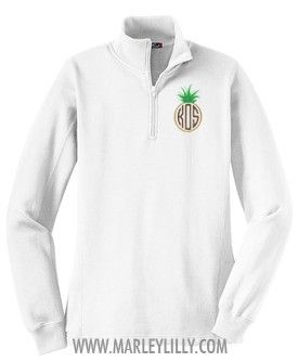 *Limited Edition* Monogrammed White Pullover Sweatshirt with Pineapple Monogram