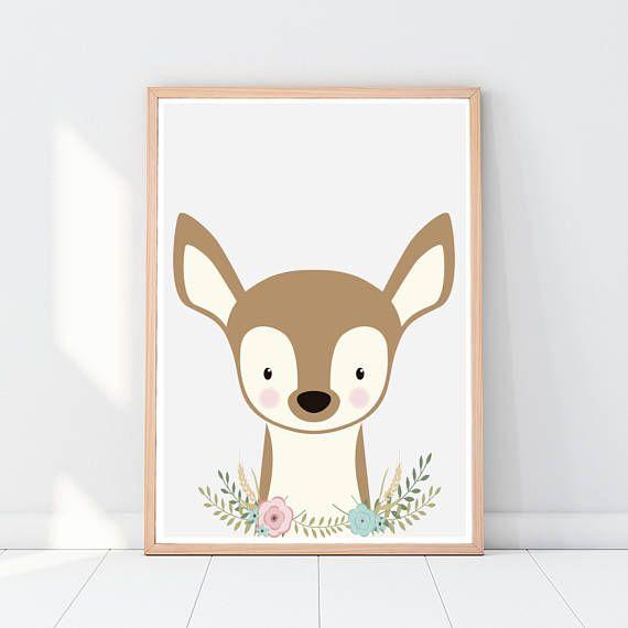 Woodland animals Fawn Animal nursery art Deer Cute nursery
