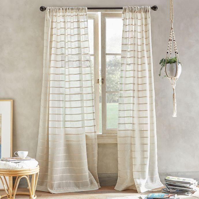 South Beach Pole Top Window Curtain Panel In Linen Bed Bath Beyond Drapes Curtains Beachy Curtains Curtains