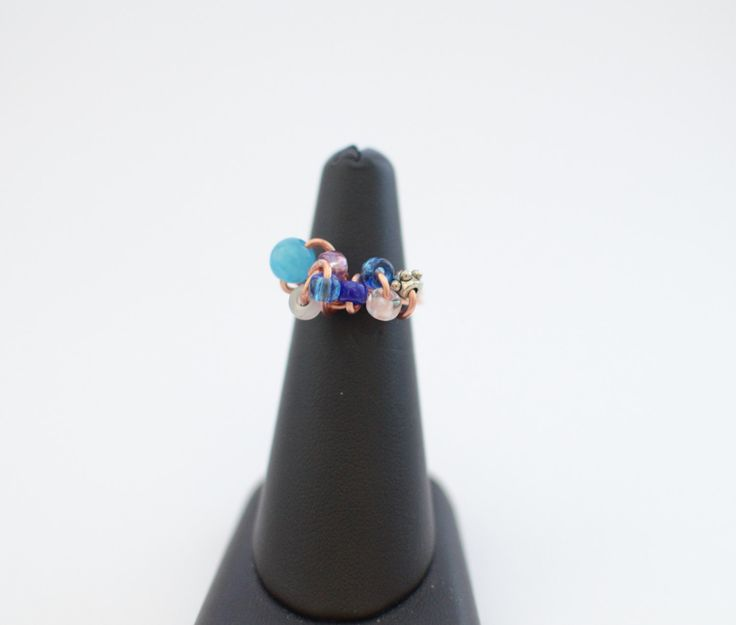 Copper wire ring with blue beads, summer ring, wrapped ring, copper ring, twisted ring, handmade ring, made to order ring, gift for her by MadebyLaure on Etsy