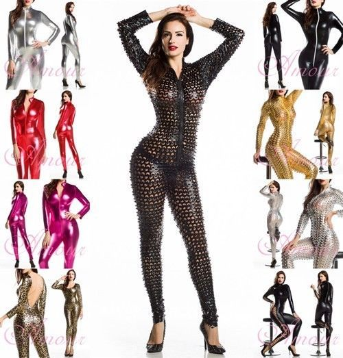 Sexy Punk Metallic 3D Intricately crafted Overall Catsuit jumpsuit wear @P7117s