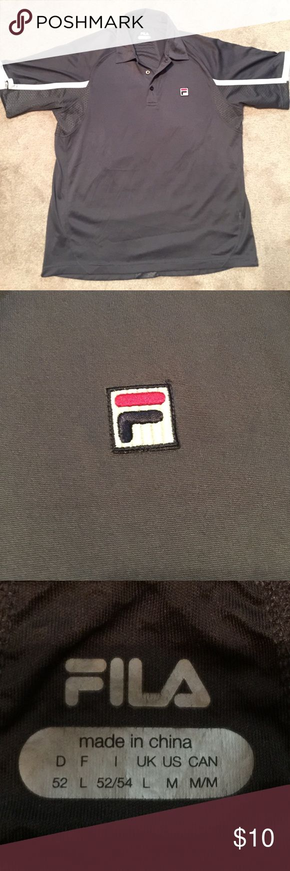 Medium Fila Polo Shirt Dark gray with white stripes on sleeve. Gently worn sport polo shirt Fila Shirts Polos