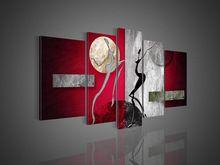 El Boyalı Modern Soyut Dekorasyon Yağlıboya Ev Için Resim Oturma Odası Duvar Sanatı Tuval 5 Parça Sıcak Çıplak Kadın Dans(China (Mainland))