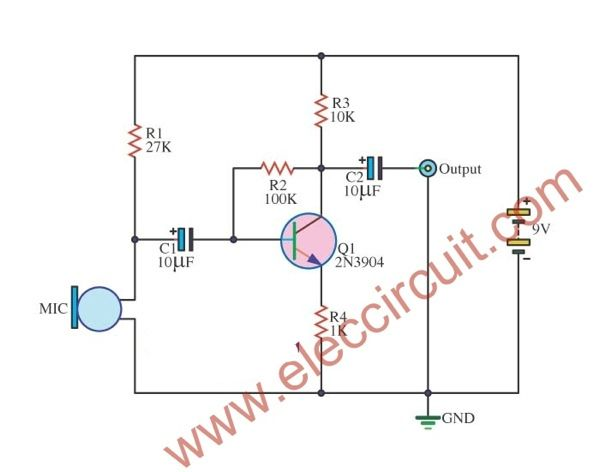 simple condenser mic preamp circuit - ElecCircuit.com ... on