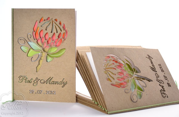 Laser cut Ceremony booklet from the Protea stationery suite - Ribbon Wedding Stationery, Johannesburg.
