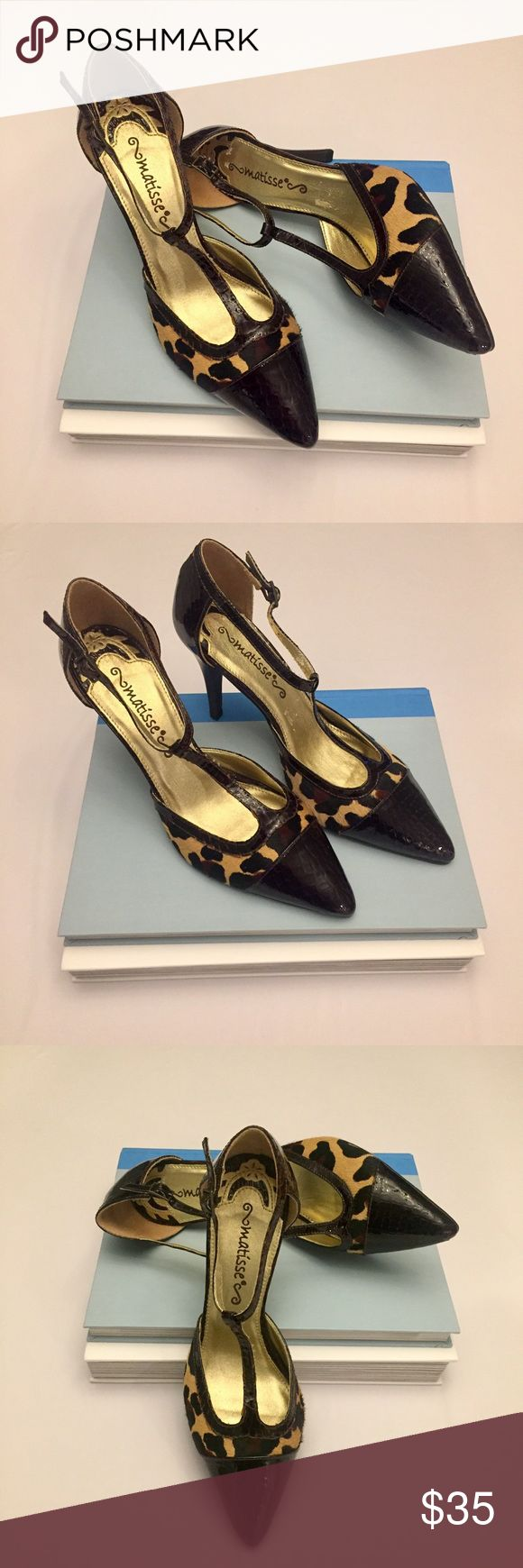 """Matisse Cow Hair Animal Print High Heels Classic Matisse animal print shoes with textured patent leather toe and heel.  The heel is 4"""" High. Matisse Shoes Heels"""