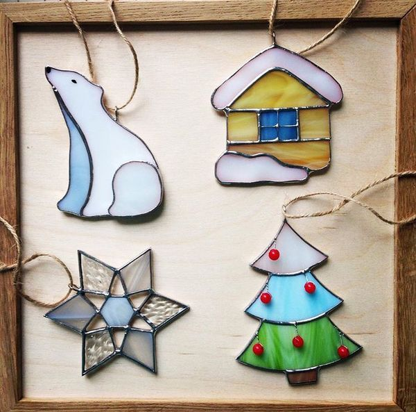 Christmas Stained Glass Ornaments Part - 34: All Four Of These Christmas Decorations Are Easy And It Has Great Colors  And Are Very Nice Decoractions