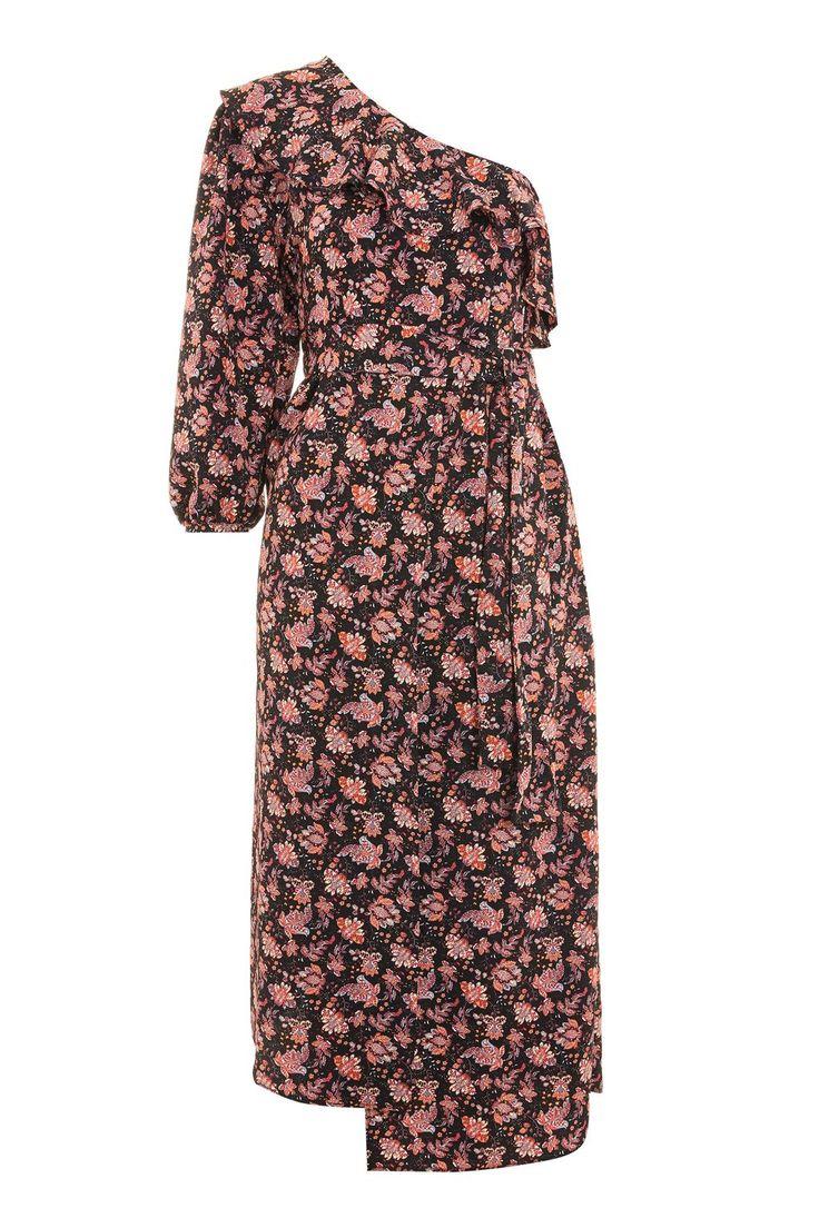 One Shoulder Paisley Midi Dress